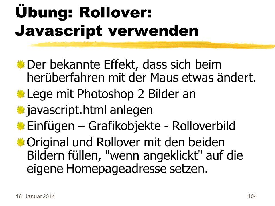 Übung: Rollover: Javascript verwenden