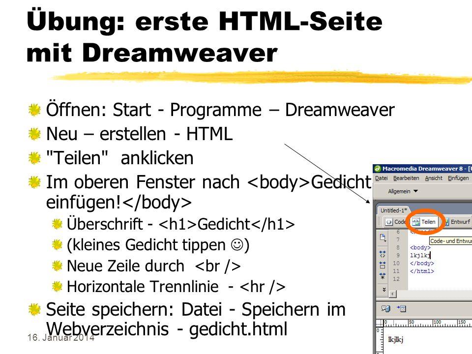 Übung: erste HTML-Seite mit Dreamweaver
