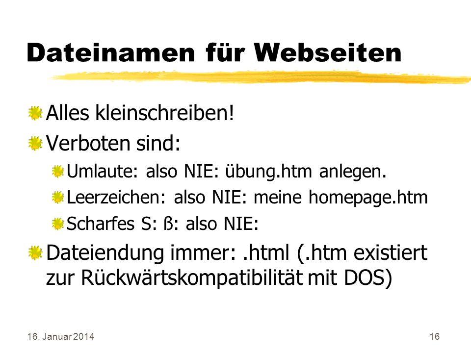 Dateinamen für Webseiten
