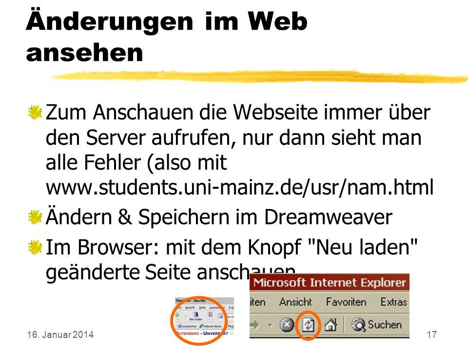 Änderungen im Web ansehen