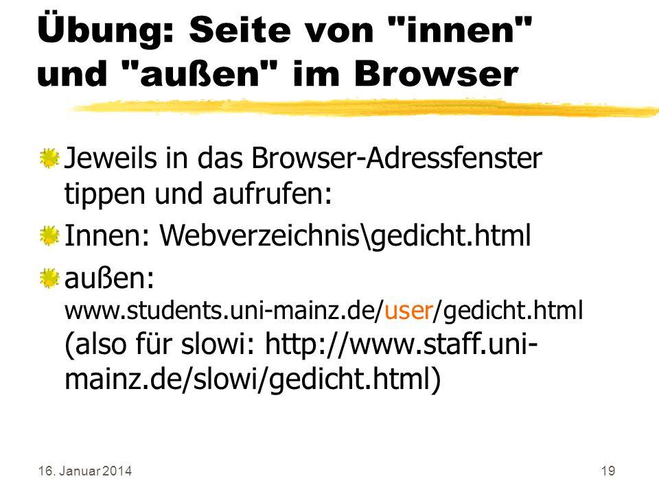 Übung: Seite von innen und außen im Browser