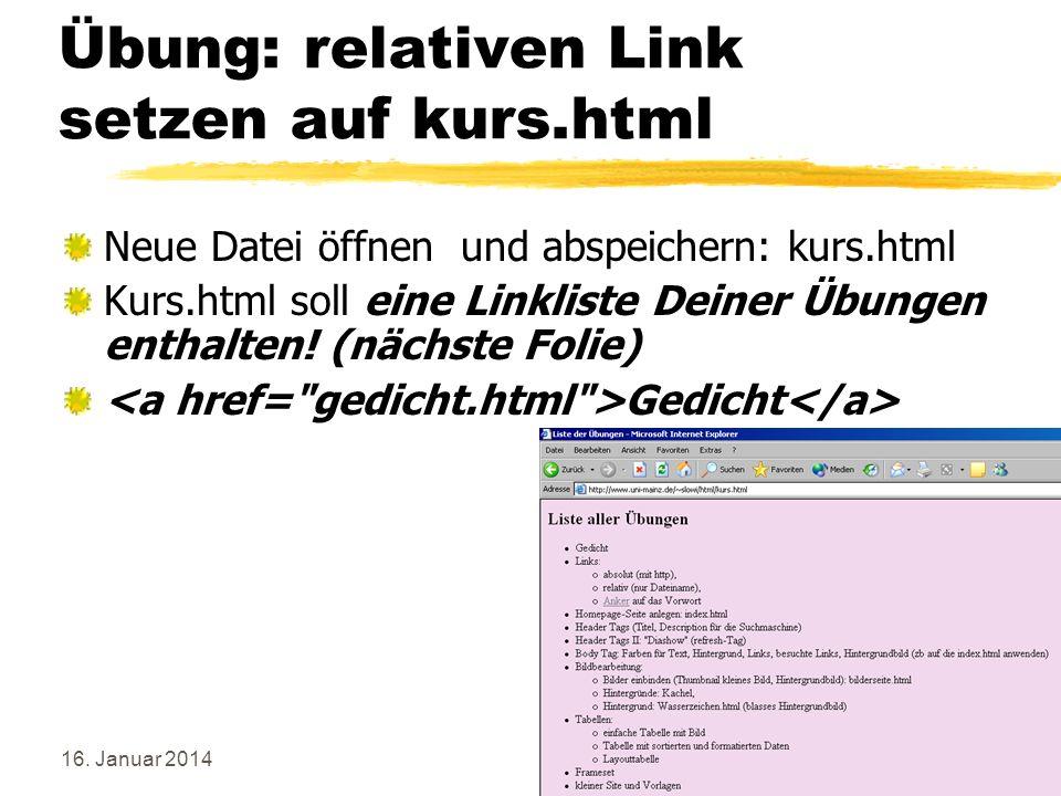 Übung: relativen Link setzen auf kurs.html