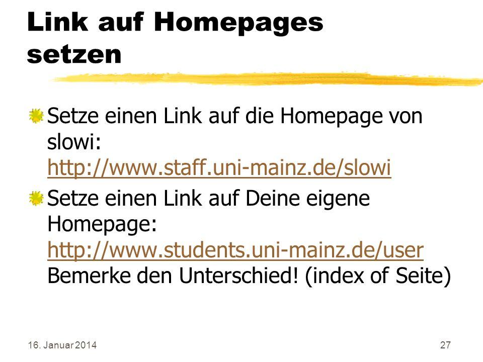 Link auf Homepages setzen