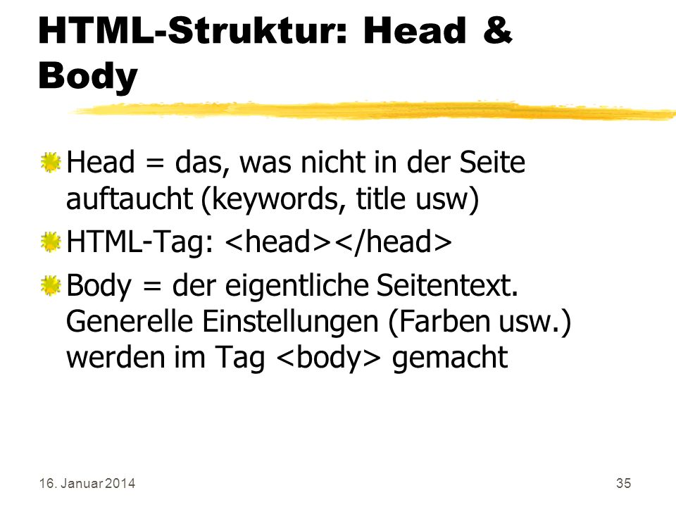 HTML-Struktur: Head & Body