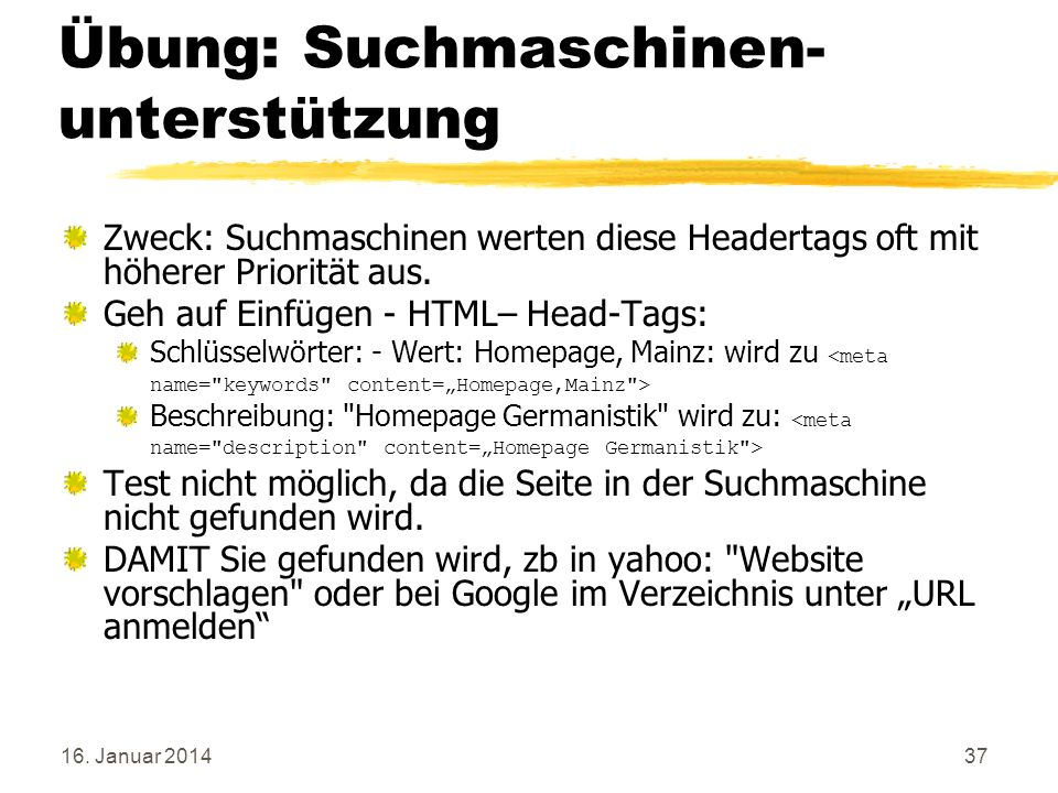 Übung: Suchmaschinen- unterstützung