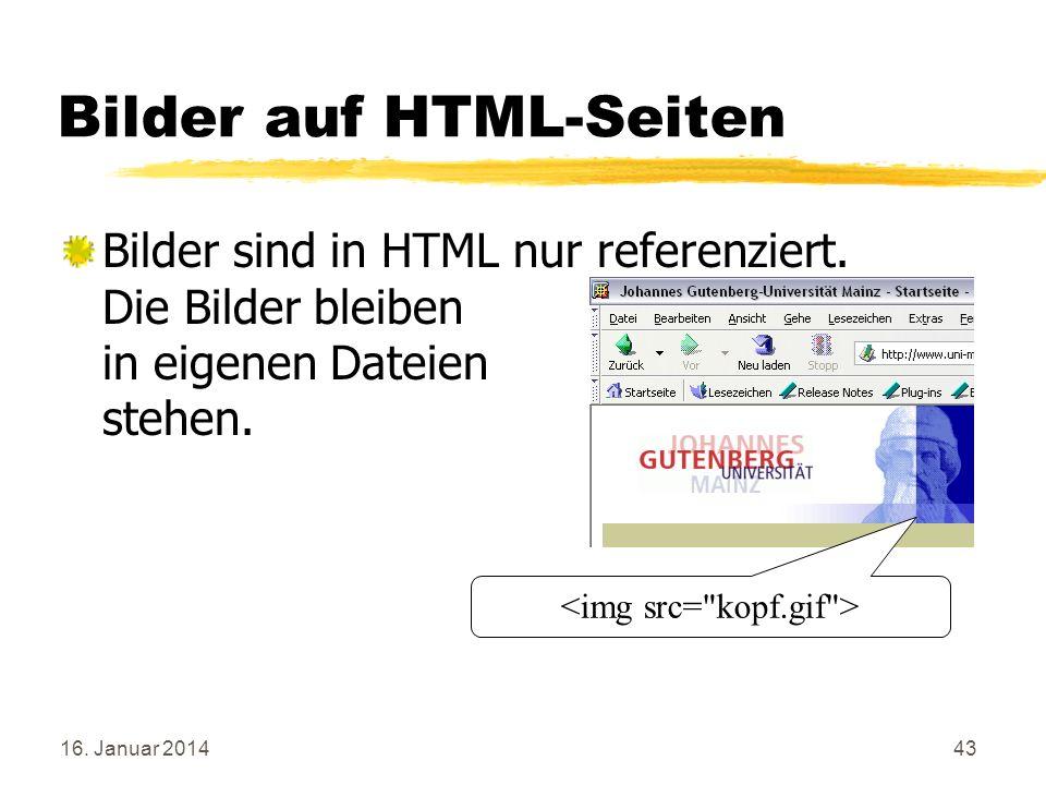 Bilder auf HTML-Seiten