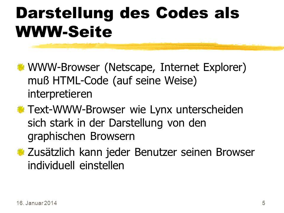 Darstellung des Codes als WWW-Seite