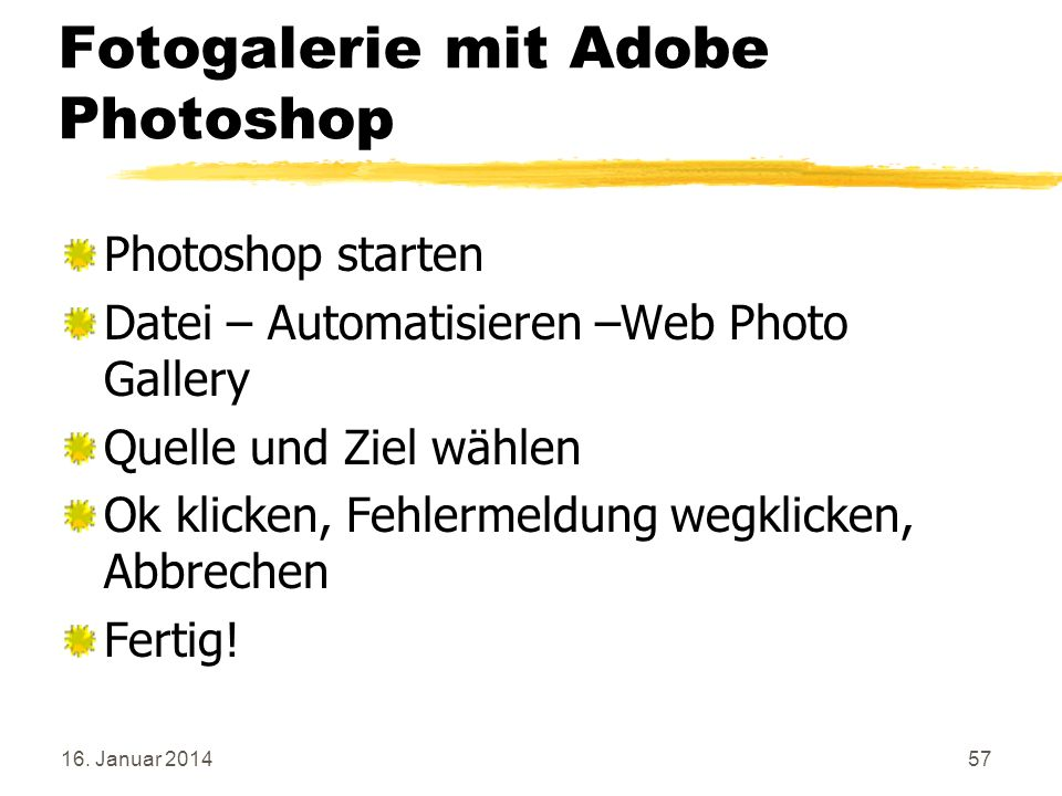 Fotogalerie mit Adobe Photoshop