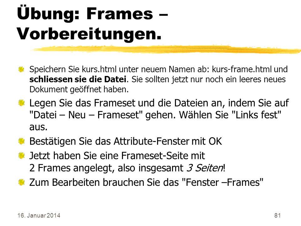 Übung: Frames – Vorbereitungen.