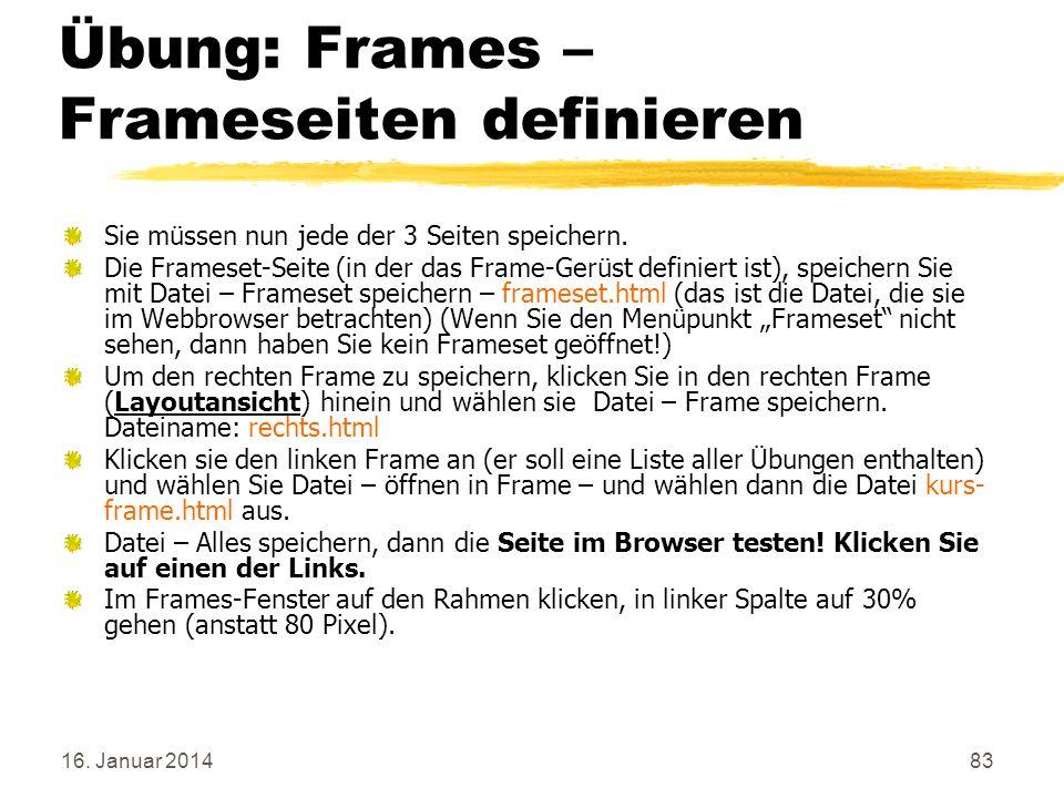 Übung: Frames – Frameseiten definieren