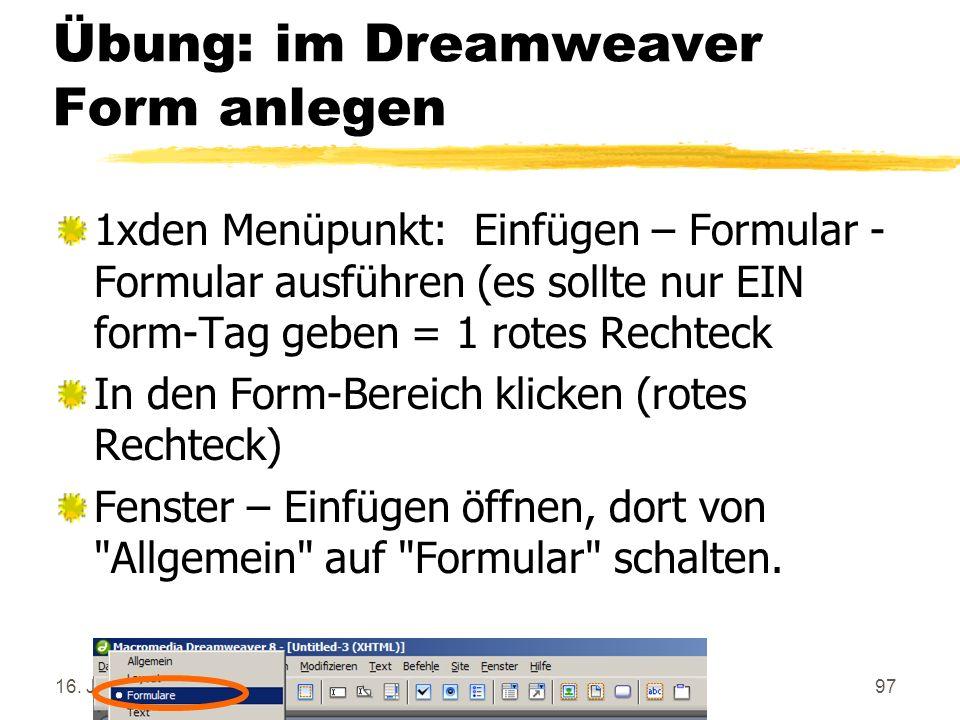 Übung: im Dreamweaver Form anlegen