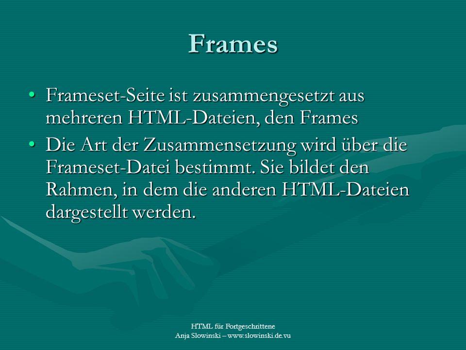 Frames Frameset-Seite ist zusammengesetzt aus mehreren HTML-Dateien, den Frames.