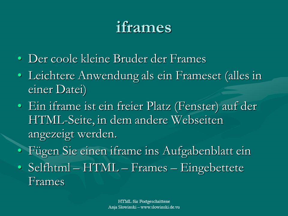 iframes Der coole kleine Bruder der Frames