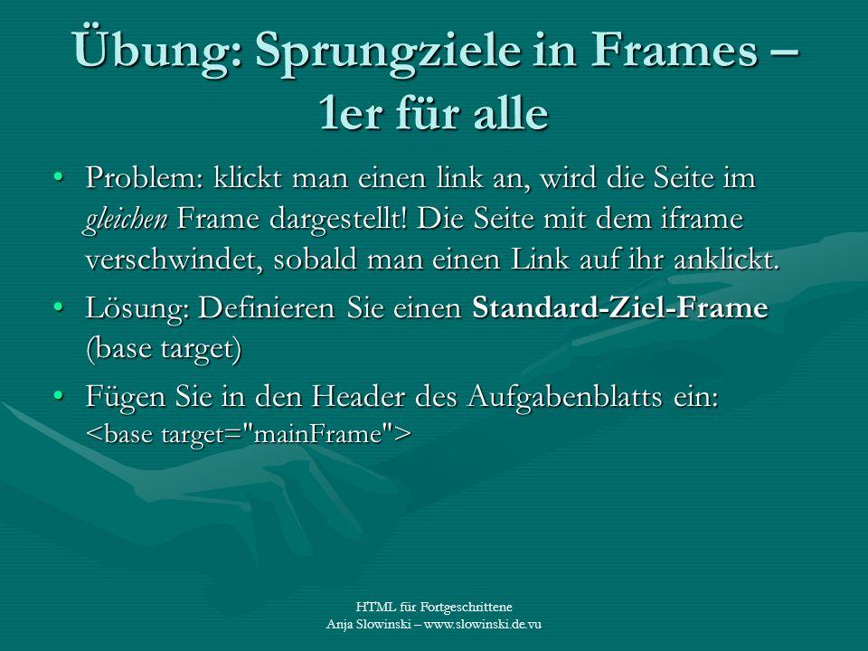 Übung: Sprungziele in Frames – 1er für alle