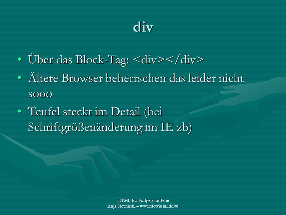 div Über das Block-Tag: <div></div>