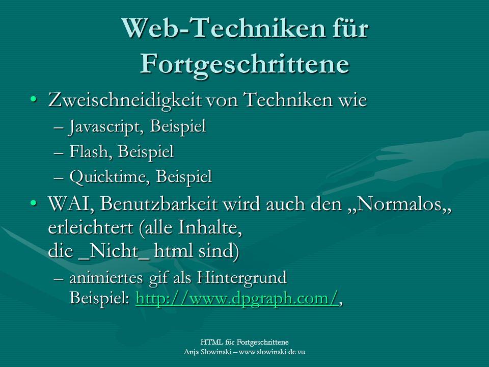 Web-Techniken für Fortgeschrittene