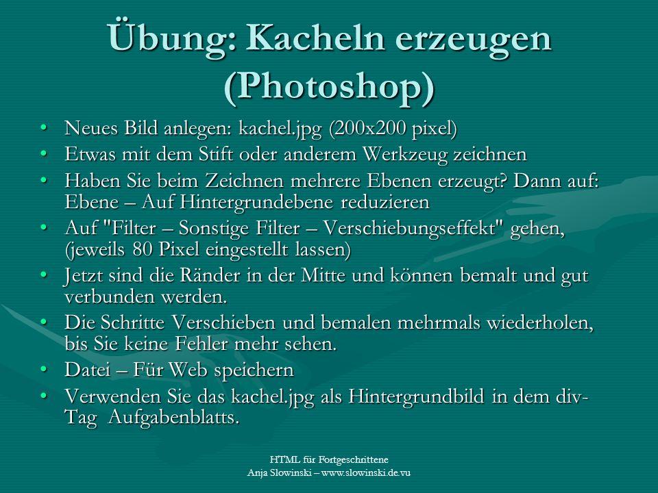 Übung: Kacheln erzeugen (Photoshop)