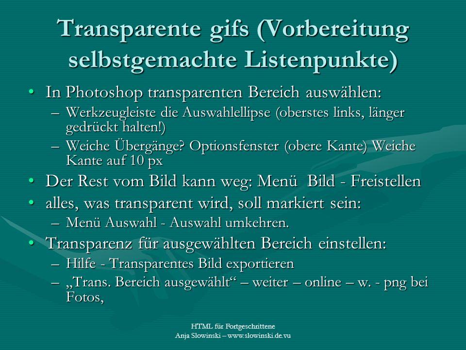 Transparente gifs (Vorbereitung selbstgemachte Listenpunkte)