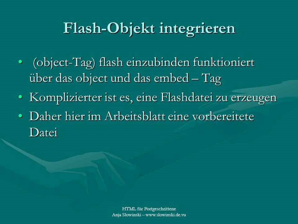 Flash-Objekt integrieren