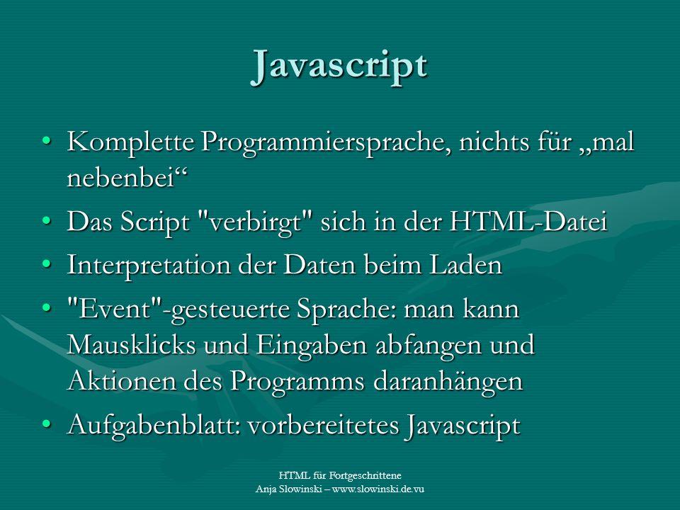 """Javascript Komplette Programmiersprache, nichts für """"mal nebenbei"""