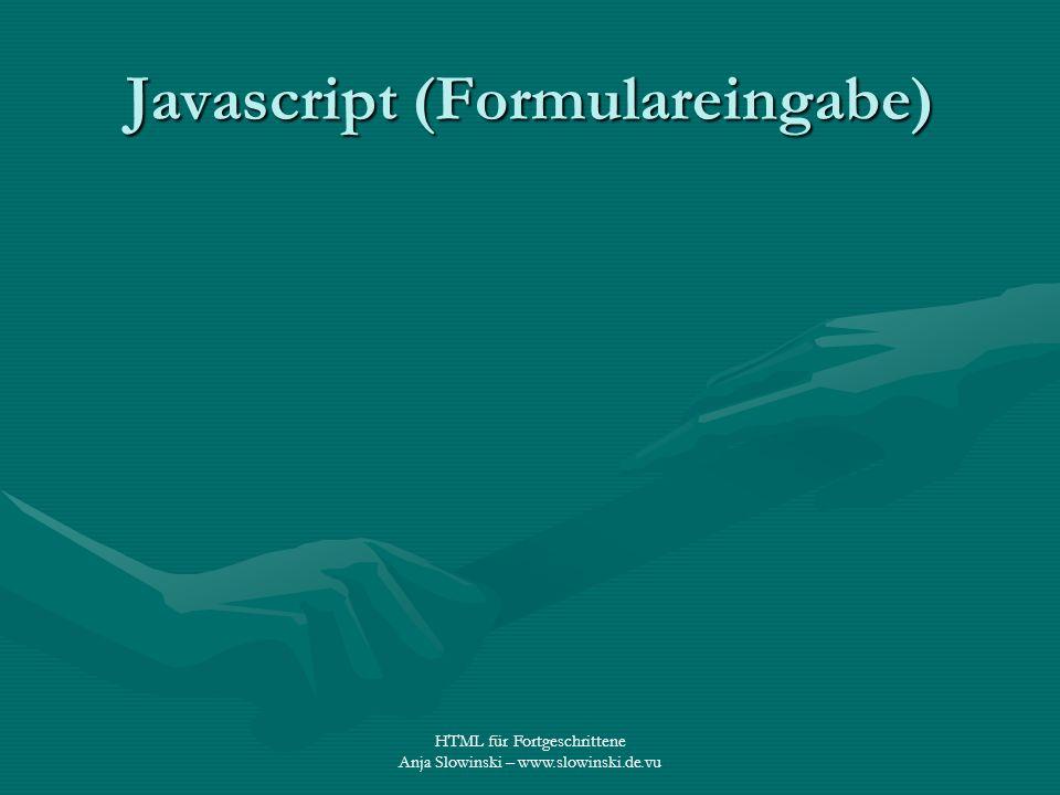 Javascript (Formulareingabe)