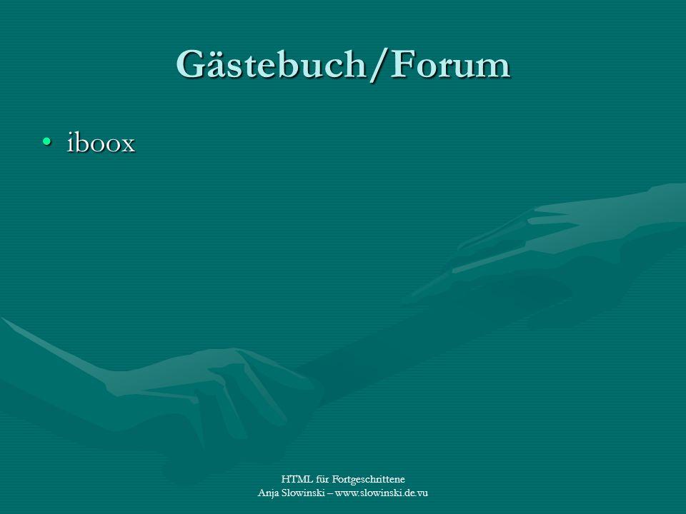 Gästebuch/Forum iboox HTML für Fortgeschrittene