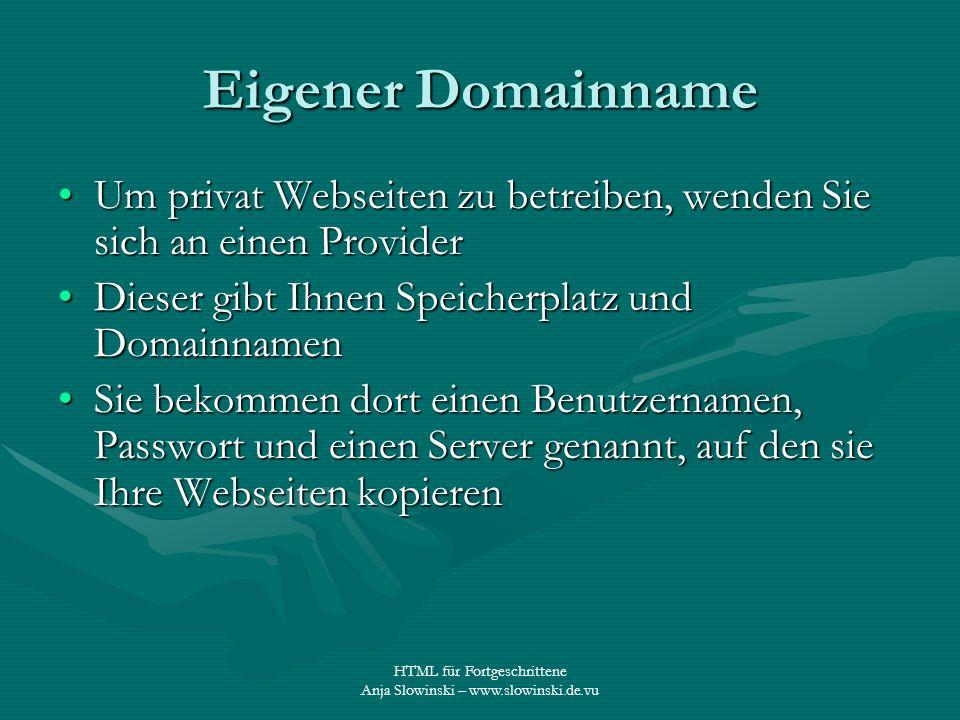 Eigener Domainname Um privat Webseiten zu betreiben, wenden Sie sich an einen Provider. Dieser gibt Ihnen Speicherplatz und Domainnamen.