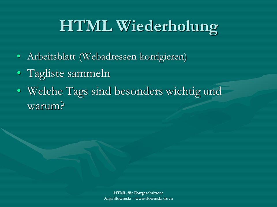 HTML Wiederholung Tagliste sammeln