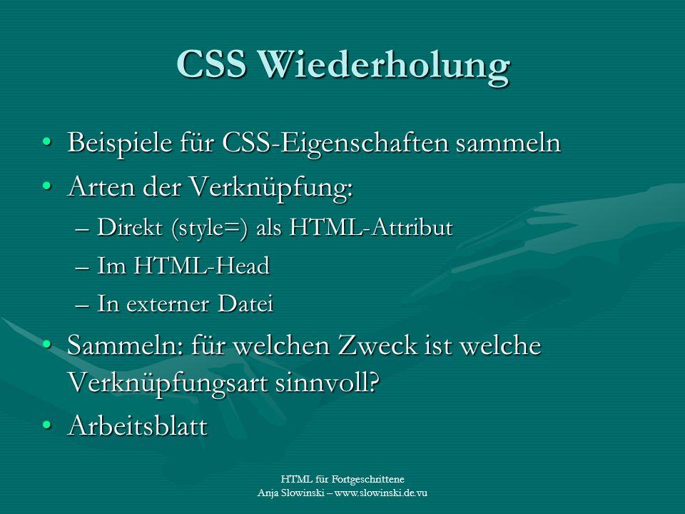 CSS Wiederholung Beispiele für CSS-Eigenschaften sammeln