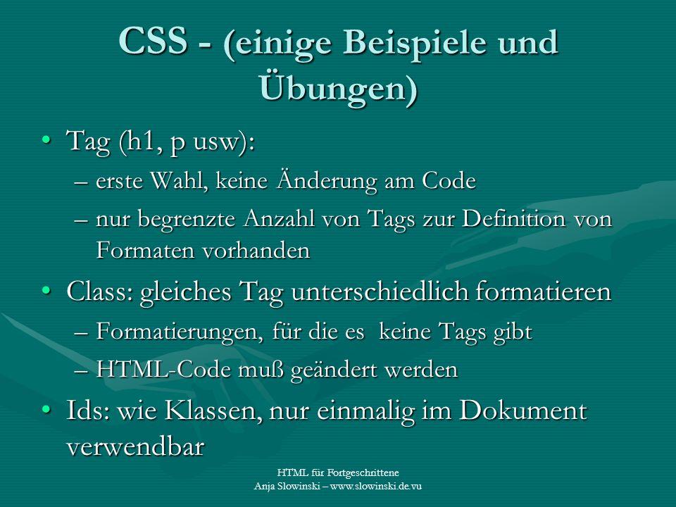 CSS - (einige Beispiele und Übungen)