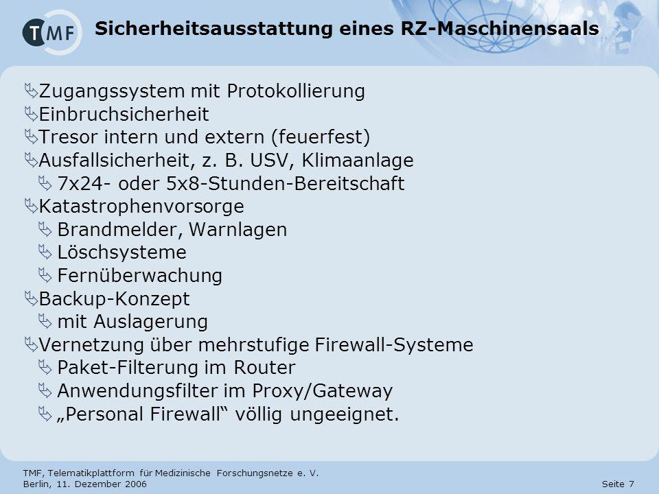 Sicherheitsausstattung eines RZ-Maschinensaals
