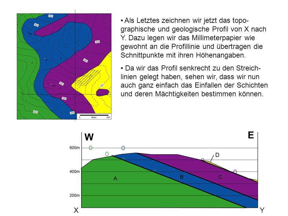 Als Letztes zeichnen wir jetzt das topo-graphische und geologische Profil von X nach Y. Dazu legen wir das Millimeterpapier wie gewohnt an die Profillinie und übertragen die Schnittpunkte mit ihren Höhenangaben.