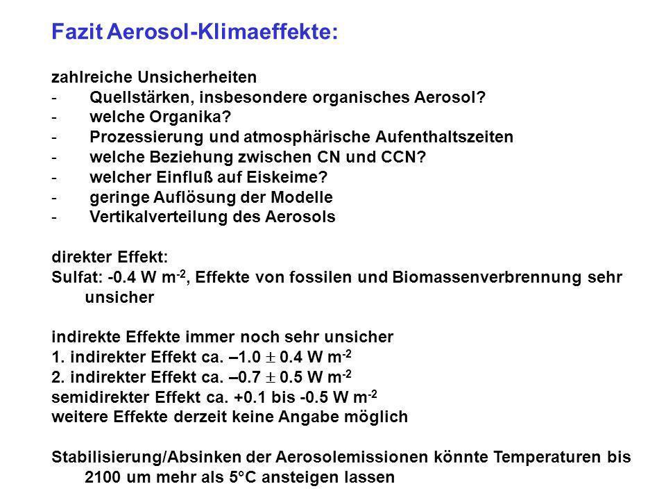 Fazit Aerosol-Klimaeffekte: