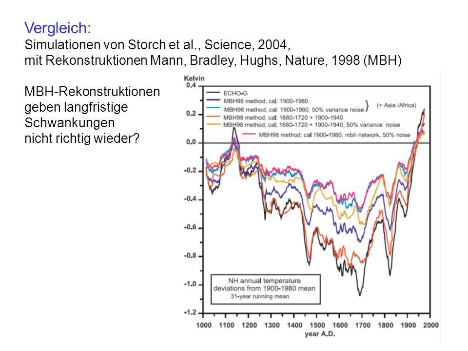 Vergleich: Simulationen von Storch et al., Science, 2004,