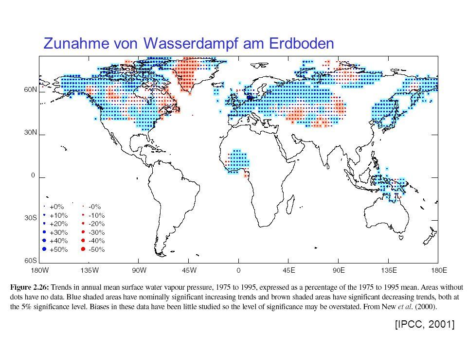 Zunahme von Wasserdampf am Erdboden