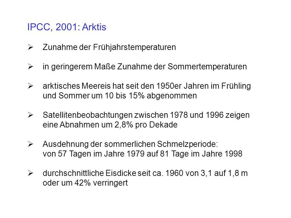 IPCC, 2001: Arktis Zunahme der Frühjahrstemperaturen