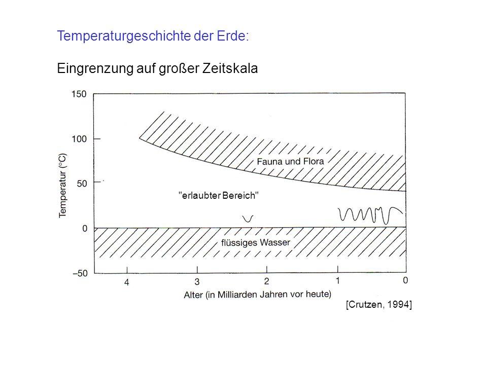 Temperaturgeschichte der Erde: Eingrenzung auf großer Zeitskala