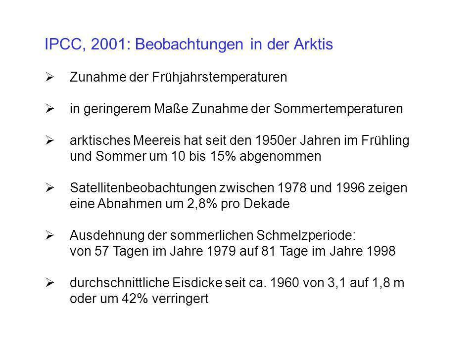 IPCC, 2001: Beobachtungen in der Arktis