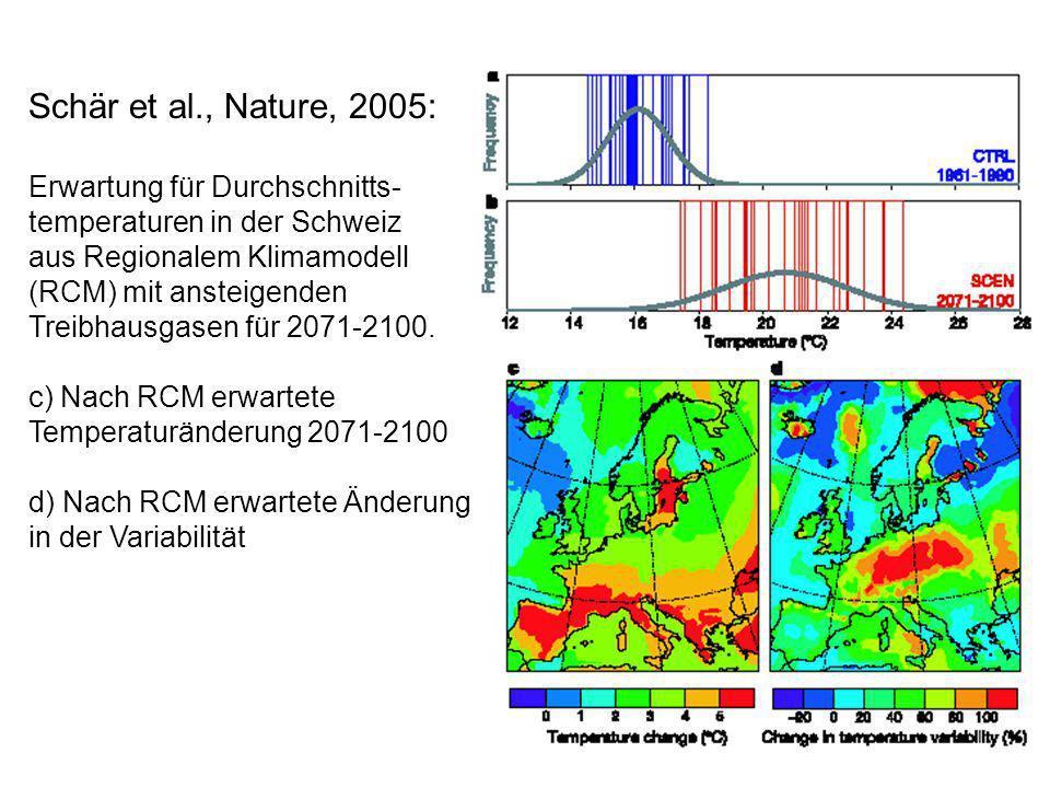 Schär et al., Nature, 2005: Erwartung für Durchschnitts- temperaturen in der Schweiz.
