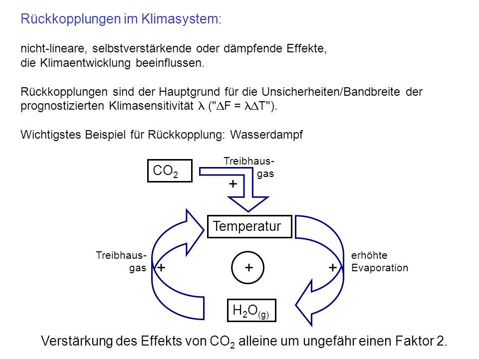 + + + + Rückkopplungen im Klimasystem: CO2 Temperatur H2O(g)