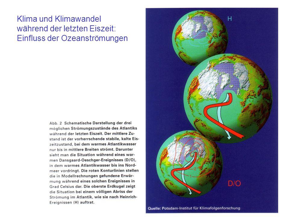 Klima und Klimawandel während der letzten Eiszeit: Einfluss der Ozeanströmungen