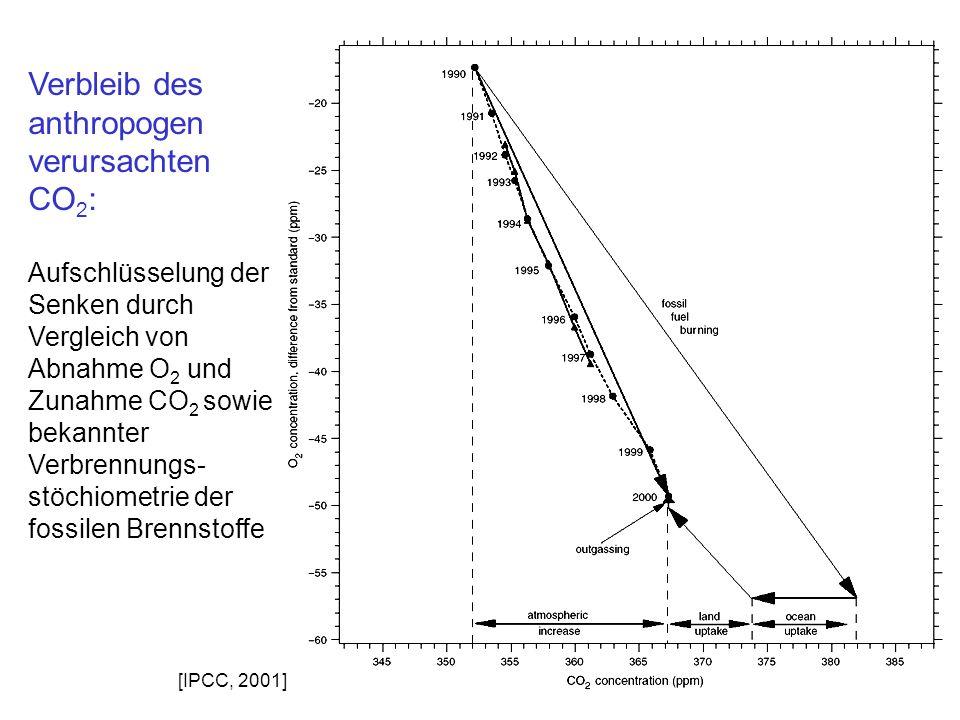 Verbleib des anthropogen verursachten CO2: Aufschlüsselung der