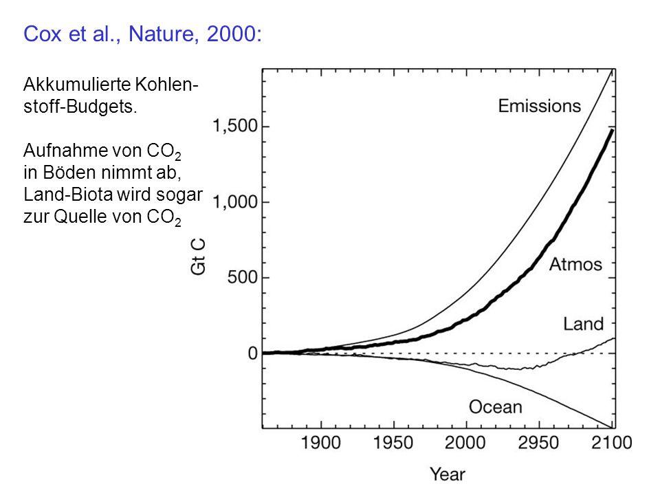 Cox et al., Nature, 2000: Akkumulierte Kohlen- stoff-Budgets.
