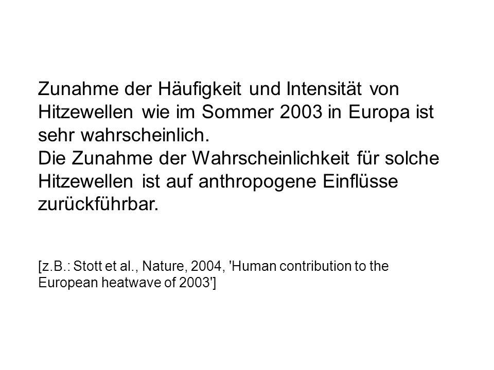Zunahme der Häufigkeit und Intensität von Hitzewellen wie im Sommer 2003 in Europa ist sehr wahrscheinlich. Die Zunahme der Wahrscheinlichkeit für solche Hitzewellen ist auf anthropogene Einflüsse zurückführbar.