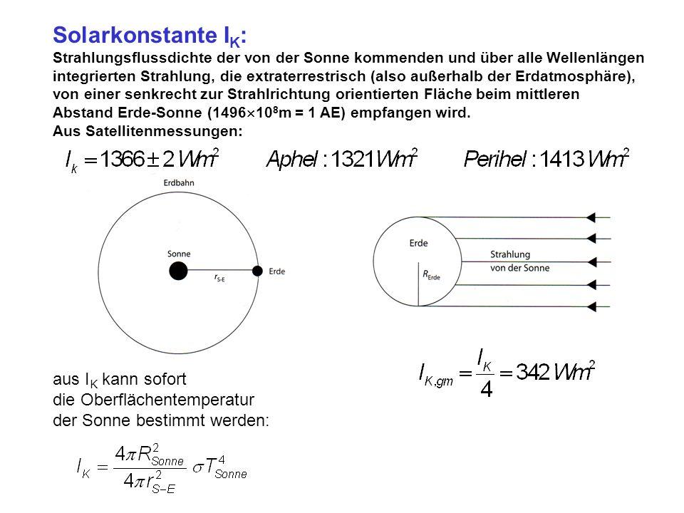 Solarkonstante IK: aus IK kann sofort die Oberflächentemperatur
