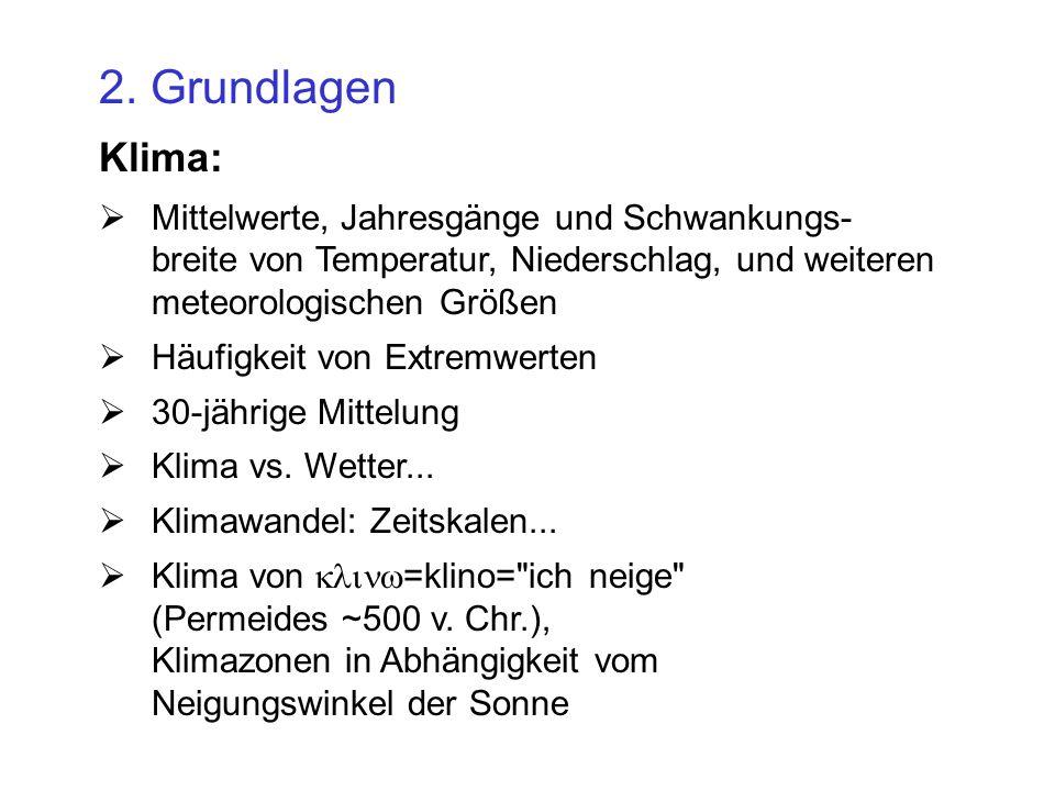 2. Grundlagen Klima: Mittelwerte, Jahresgänge und Schwankungs- breite von Temperatur, Niederschlag, und weiteren meteorologischen Größen.