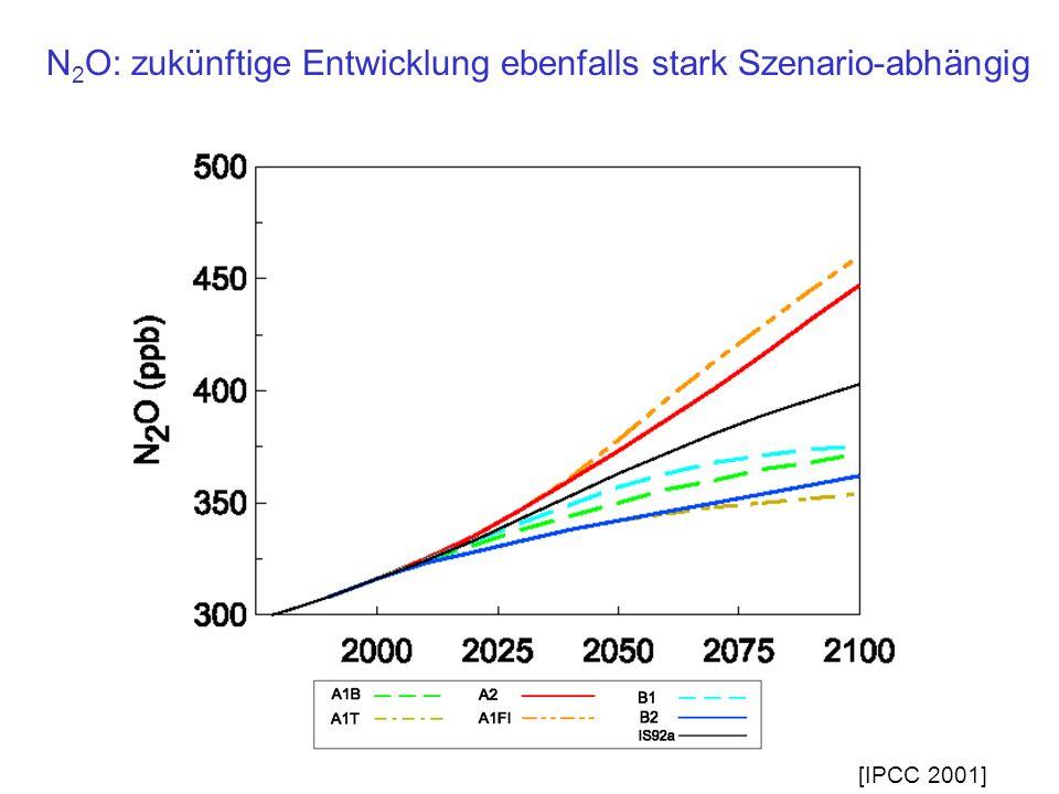 N2O: zukünftige Entwicklung ebenfalls stark Szenario-abhängig