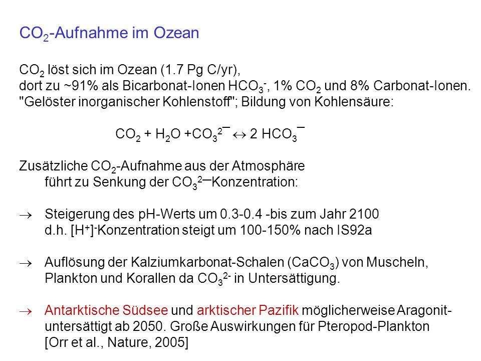CO2-Aufnahme im Ozean CO2 löst sich im Ozean (1.7 Pg C/yr),