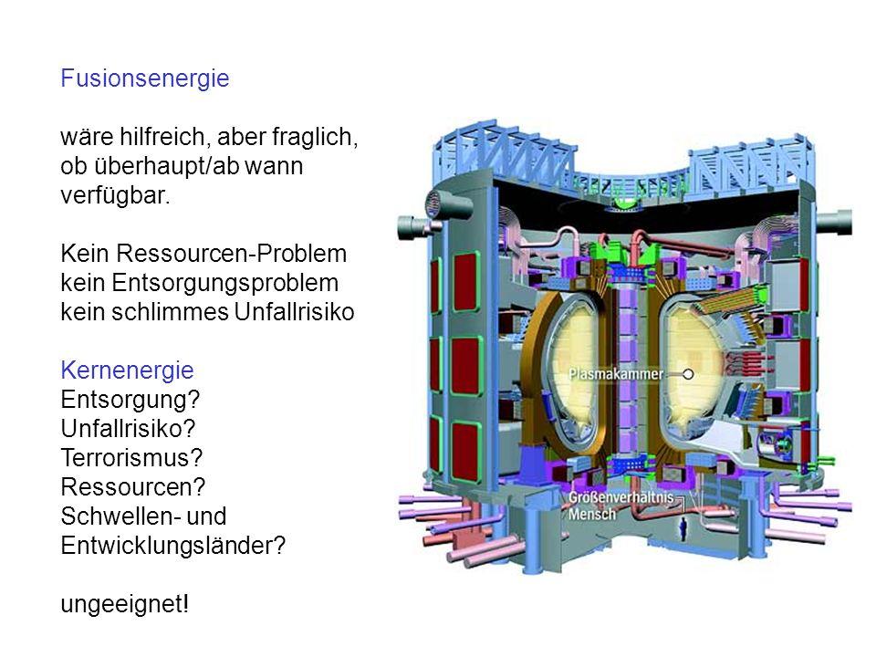 Fusionsenergiewäre hilfreich, aber fraglich, ob überhaupt/ab wann. verfügbar. Kein Ressourcen-Problem.