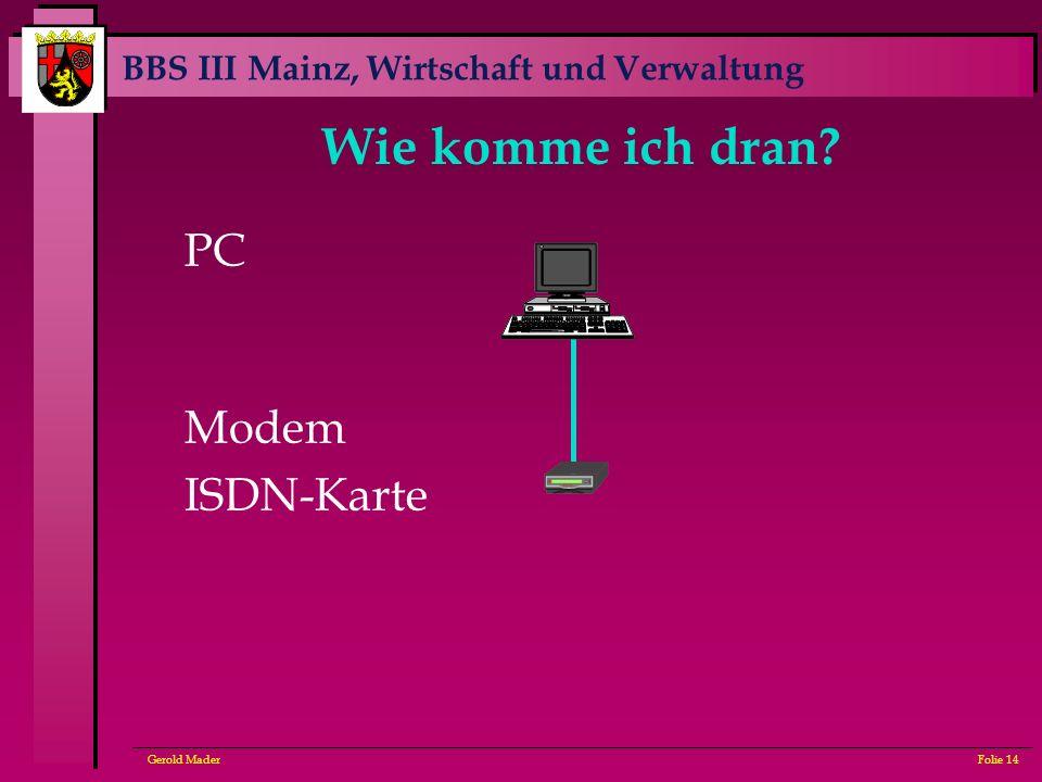 Wie komme ich dran PC Modem ISDN-Karte